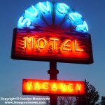 Sunset Motel Neon Sign Relit After Restoration