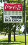 Retro Coca-Cola and Greyhound Bus Depot Sign