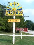 Sunset Motel signs before restoration, Villa Ridge, MO