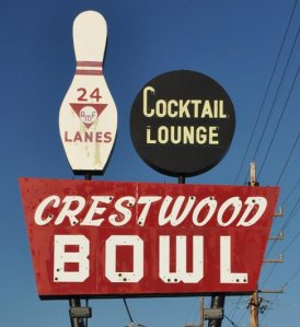 Crestwood Bowl Sign on Watson Road in St. Louis County